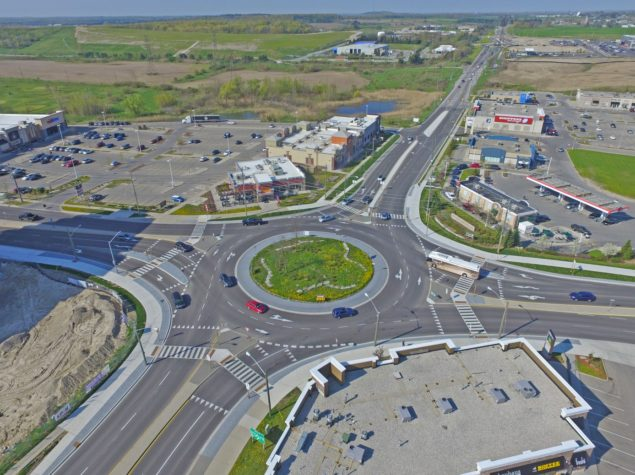 Aerial image of a roundabout