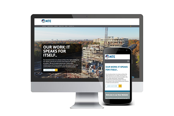 MTE's new website on a laptop and cellphone