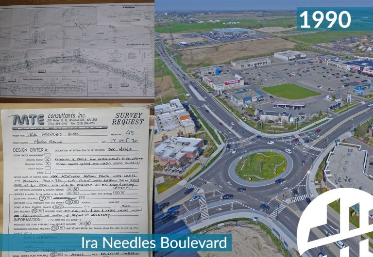 Design drawings and an aerial shot of a roundabout