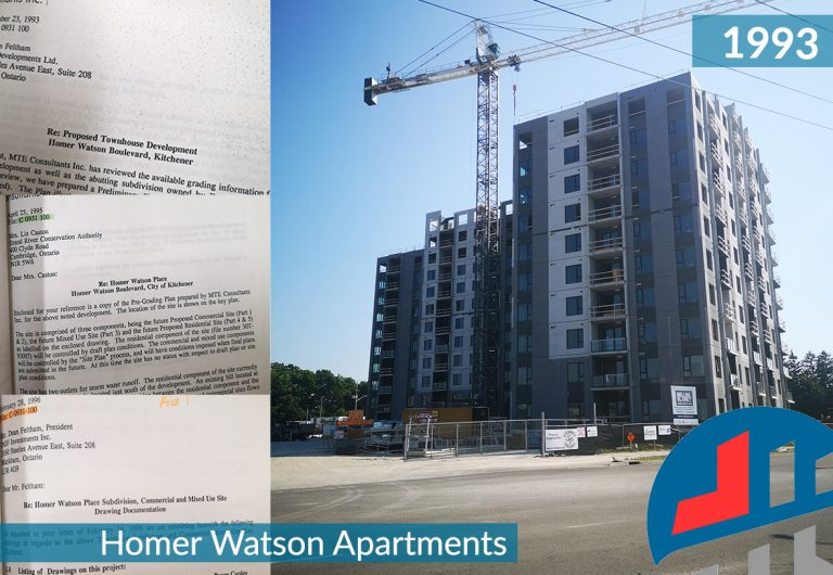 Civil, Structural, and environmental engineering documents and photos of a new, low-rise residential development