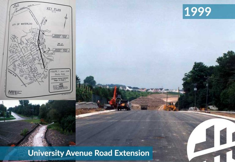 A road reconstruction project in Waterloo, Ontario