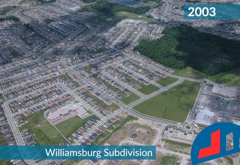 Aerial Shot of Williamsburg Subdivision in Kitchener, Ontario