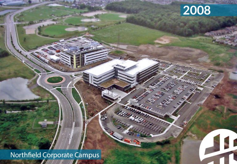 An aerial shot of a corporate campus in north Waterloo