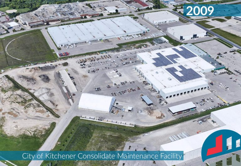 An aerial shot of the City of Kitchener's Maintenance Facility
