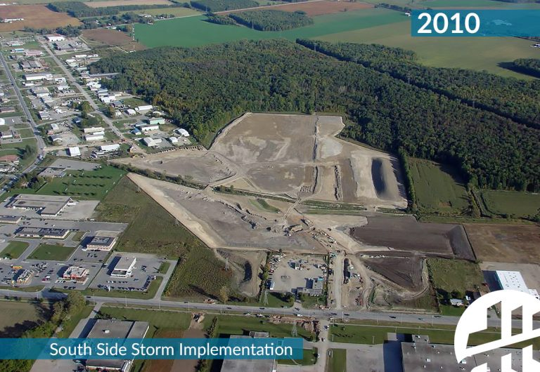 An aerial shot of the City of Stratford's South Side Storm System plan