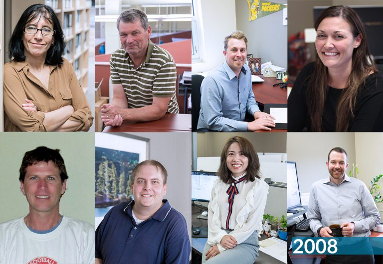 A collageof eight employees who joined MTE in 2008