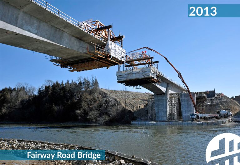Construction of a new bridge that links Kitchener and Cambridge