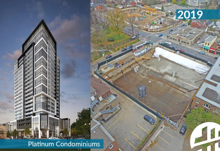 A rendering of a high-rise condominium and an image of it being constructed
