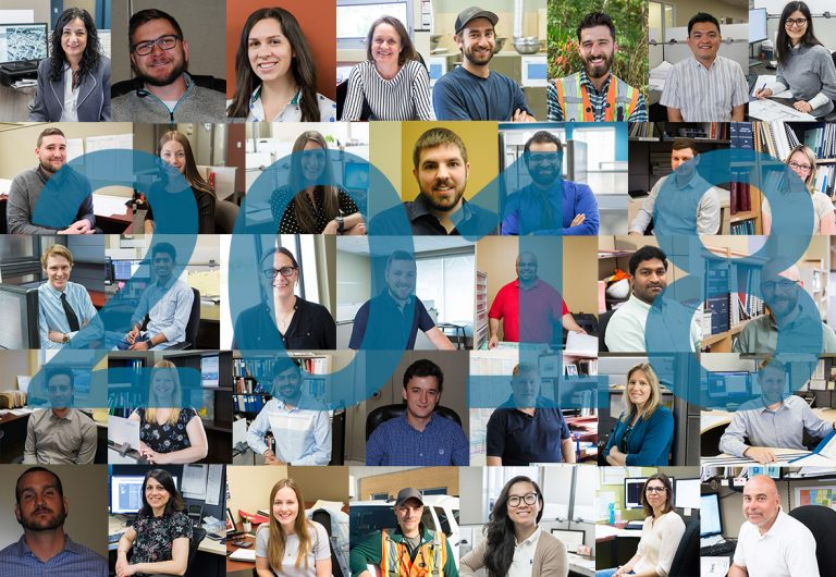 A collage of the 36 new employees who joined MTE in 2018